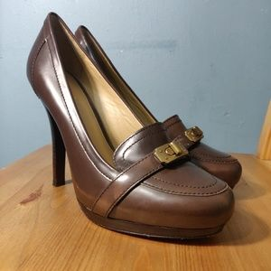Coach Camille Heels Brown Leather Fabric Logo Heel